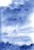 Watercolor sky with clouds and birds. Watercolor background with waves. Abstract sky with clouds and birds Royalty Free Stock Photos