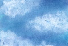 Watercolor sky with clouds. Background stock images