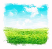 Watercolor sky and grass background Stock Image