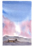 Watercolor illustration Northern Lights, sky and house stock illustration