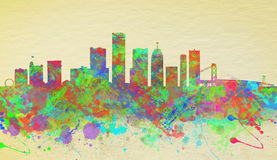 Watercolor  skyline of Detroit United States Royalty Free Stock Image