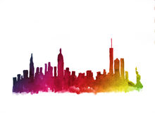 Free Watercolor Skyline Of New York City Stock Photography - 90540352