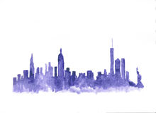 Free Watercolor Skyline Of New York City Royalty Free Stock Photo - 90540355