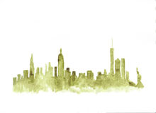 Free Watercolor Skyline Of New York City Stock Images - 90540384