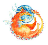 Watercolor sleeping cute dragon on a pillow. Fairy tale cartoon character isolated on white background. Hand painted illustration Stock Photos