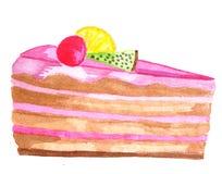 Watercolor slice of cake stock photos