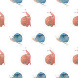 Watercolor snails  pattern Royalty Free Stock Photo