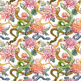 Watercolor snake and flowers pattern. Beautiful pattern with hand drawn watercolor snakes and flowers Stock Illustration