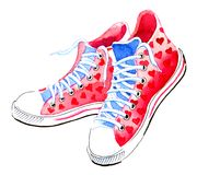 Watercolor sneakers. Watercolor sketch of a pink sneakers vector illustration