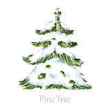 Watercolor snow christmas tree. Royalty Free Stock Photography