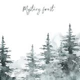 Watercolor snow winter forest landscape background with space for text. pine and spruce trees on white backdrop for Christmas. Watercolor winter banner with hand stock photo