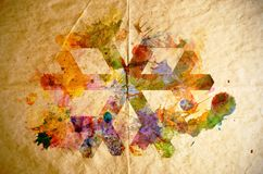 Watercolor snowflake, old paper background Royalty Free Stock Photos
