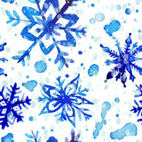 Watercolor snowflake seamless pattern Royalty Free Stock Photo