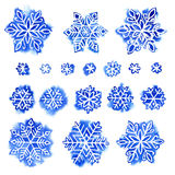 Watercolor snowflake set Stock Photo