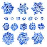Watercolor snowflake set Stock Photo