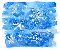 Watercolor snowflakes abstract background. Royalty Free Stock Images