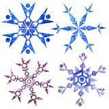 Watercolor snowflakes isolated on white background Royalty Free Stock Images