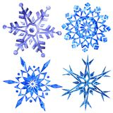 Watercolor snowflakes isolated on white background Stock Image