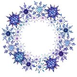 Watercolor snowflakes round frame template royalty free illustration
