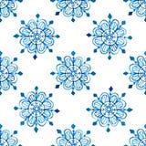 Watercolor snowflakes seamless pattern Fotografia de Stock Royalty Free