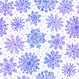 Watercolor snowflakes seamless pattern. Royalty Free Stock Photo