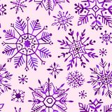 Watercolor snowflakes seamless pattern. Purple snowflakes on a pink background. royalty free illustration