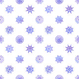 Watercolor snowflakes seamless vector pattern Royalty Free Stock Photography