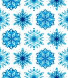 Geometric blue snowflakes. Watercolor snowflakes, strictly geometric seamless pattern royalty free illustration