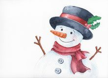 Watercolor snowman with cheerful smile. Isolated on white background,Hand painted illustration can be used for Merry Christmas and Happy New Year royalty free illustration