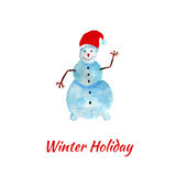Watercolor snowman. New year greeting card. Hand paint illustraton Stock Photo