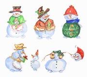 Watercolor snowmen set. Stock Images