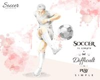 Watercolor soccer player, young man kicking a ball in elegant sp. Lash paint brush stroke style Stock Images