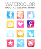 Watercolor social media icon Royalty Free Stock Photography