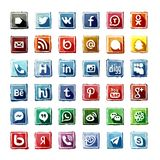 35 watercolor Social Media Icons stock image
