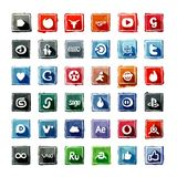 35 watercolor Social Media Icons stock photo