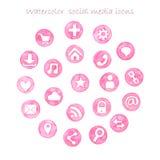 Watercolor social media set. On white background Stock Photos