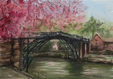Watercolor. Somewhere in Asia. Abstract landscape of a bridge somewhere in asia and blooming cherry Stock Photo
