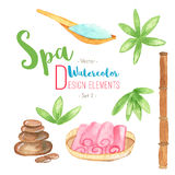 Watercolor Spa design elements on white background Royalty Free Stock Photo