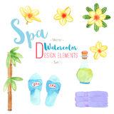 Watercolor Spa design elements on white background Stock Photography