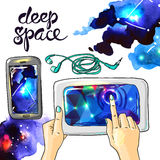 Watercolor space. Beautiful hand drawn watercolor space for your design Royalty Free Stock Photography