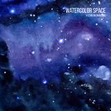 Watercolor space texture with glowing stars. Cosmic background with paint strokes and swashes. Vector illustration. Stock Photo