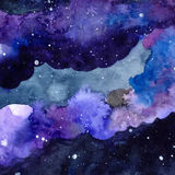 Watercolor space texture with glowing stars. Night starry sky with paint strokes and swashes. Vector illustration. Stock Images