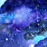 Watercolor space texture with glowing stars. Night starry sky with paint strokes and swashes. Vector illustration.