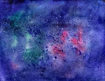 Watercolor space texture with stars. Universe background. Vector trace. Stock Photo