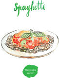 Watercolor spaghetti Stock Photography