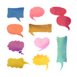 Watercolor Speaking Bubbles Set Royalty Free Stock Photos