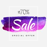 Watercolor Special Offer, Super Sale Flyer, Banner, Poster, Pamphlet, Saving Upto 70 Off, Vector illustration with. Abstract paint stroke stock illustration