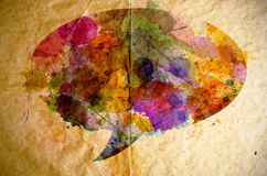 Watercolor speech bubble, old paper background Royalty Free Stock Images