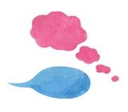 Watercolor speech bubble on white background. Blue text bubble cloud hand-drawn element. Stock Images