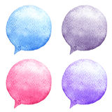 Watercolor speech bubbles set. Hand-drawn illustration. Social media icons. Stock Images